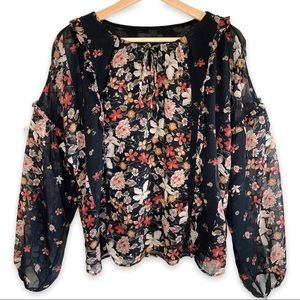 Adelyn Rae Floral and Ruffles Sheer Sleeve Layered